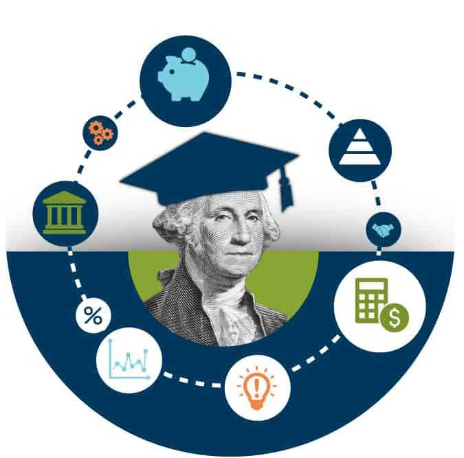 George Washington with a graduation cap