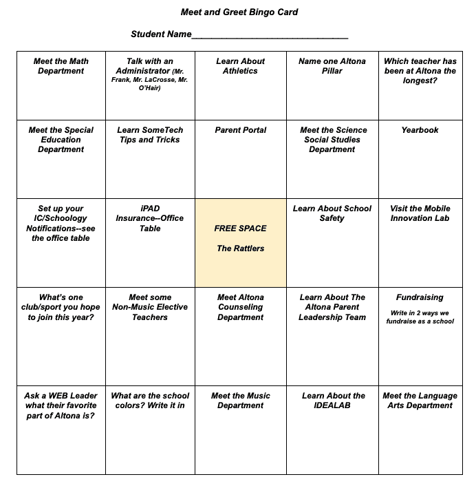 Altona's bingo card for families to use at back-to-school night.